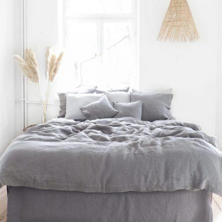 Leinen Bettwäsche Bügelfalte - true gray