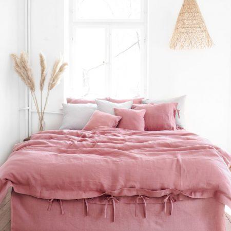 Leinen Bettwäsche - Spannbänder - dusty pink