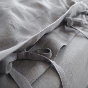Leinen Bettwäsche - Spannbänder - true gray