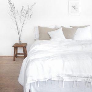 Leinen Bettwäsche - Spannbänder - pure white