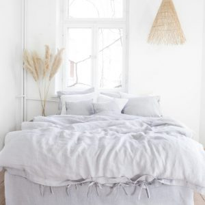 Leinen Bettwäsche - Spannbänder - light gray