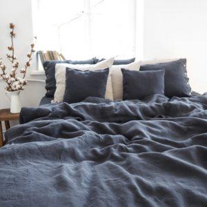 Leinen Bettwäsche - Spannbänder - charcoal
