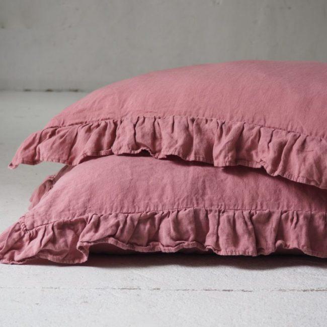 Leinen Kissenbezüge - Volant - dusty pink